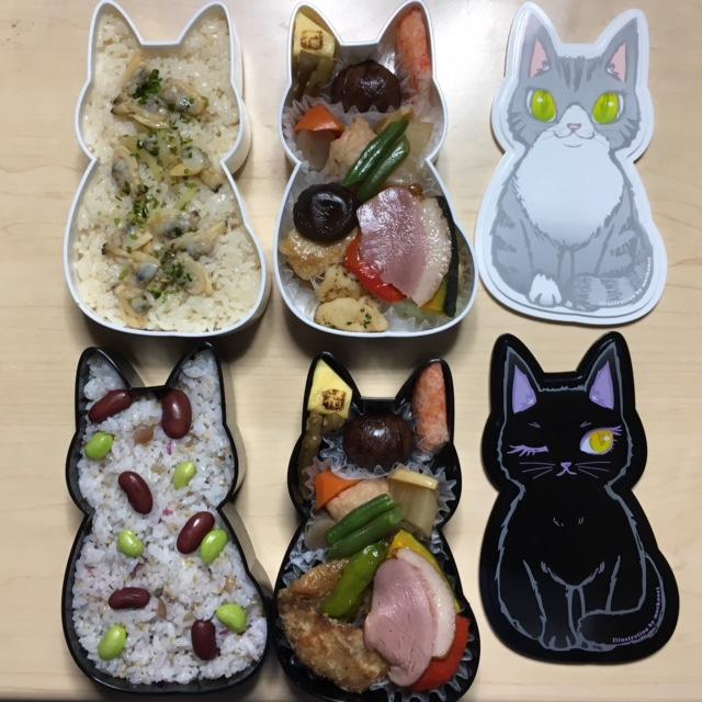 猫型お弁当、保護猫ラベルのコーヒー